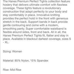 Hanes Intimates & Sleepwear - Nwt XTemp premium blackout tights